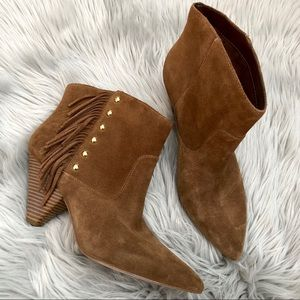 INC Brown Suede Leather Fringe Heel Ankle Boots 10